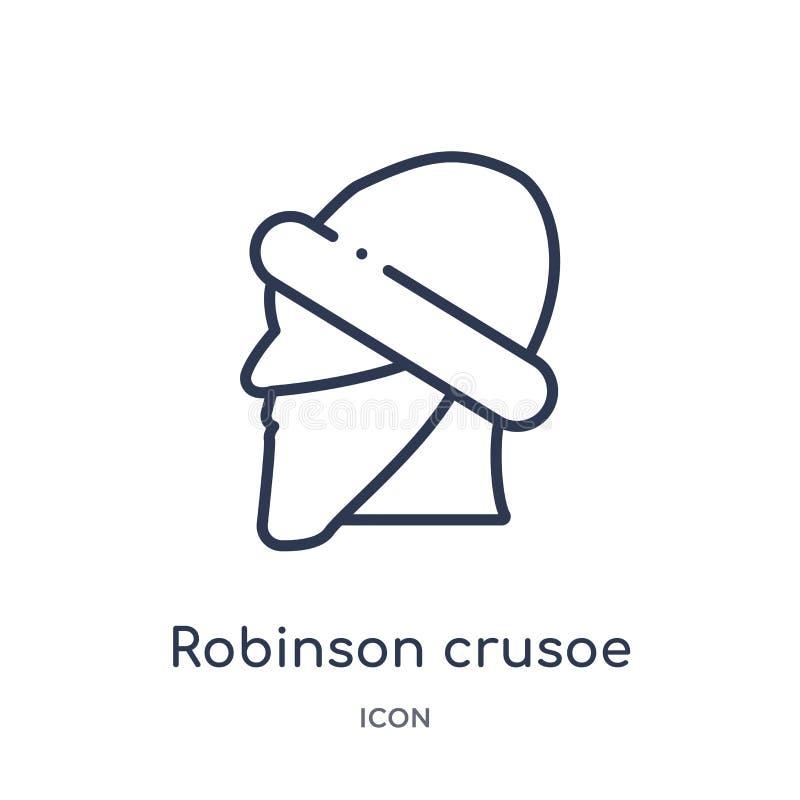 Lineair robinson crusoe pictogram van de inzameling van het Onderwijsoverzicht Dunne die lijn robinson crusoe vector op witte ach stock illustratie