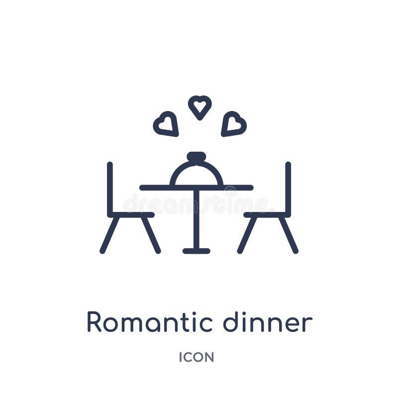 Lineair romantisch dinerpictogram van het overzichtsinzameling van de Verjaardagspartij De dunne vector van het lijn romantische  vector illustratie