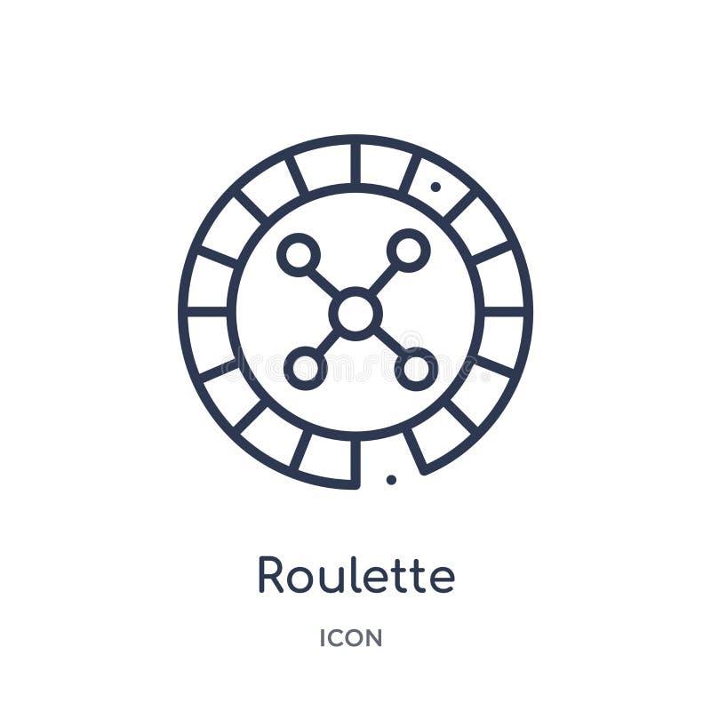 Lineair roulettepictogram van Vermaak en de inzameling van het arcadeoverzicht De dunne vector van de lijnroulette die op witte a stock illustratie