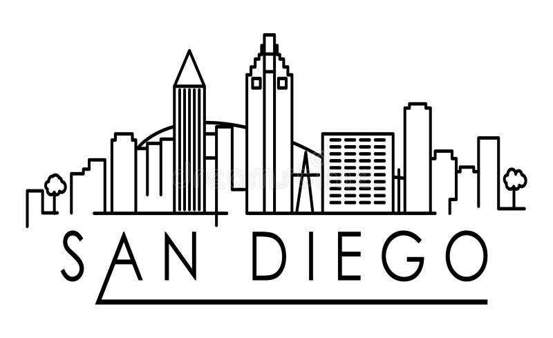 Lineair San Diego City Silhouette met Typografisch Ontwerp stock illustratie