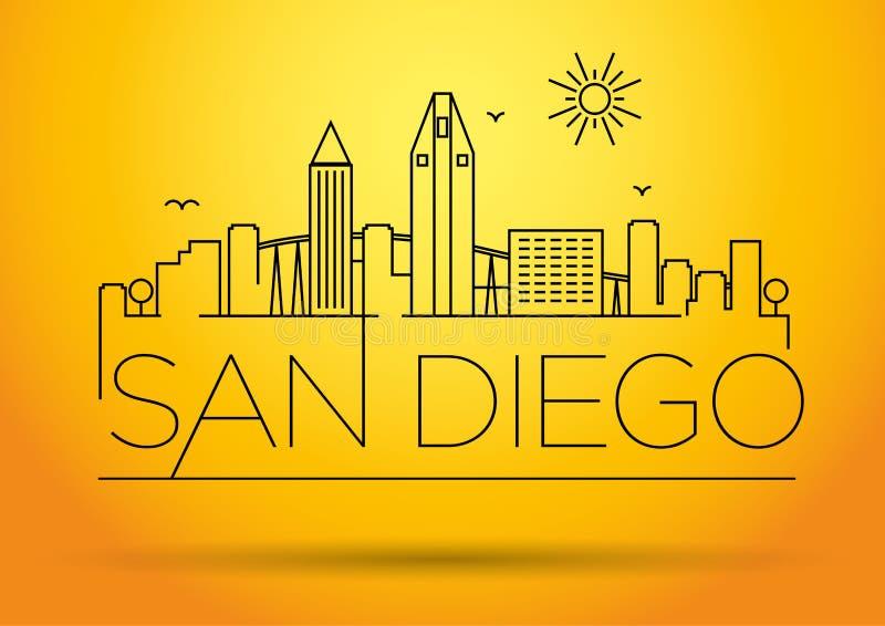 Lineair San Diego City Silhouette met Typografisch Ontwerp vector illustratie