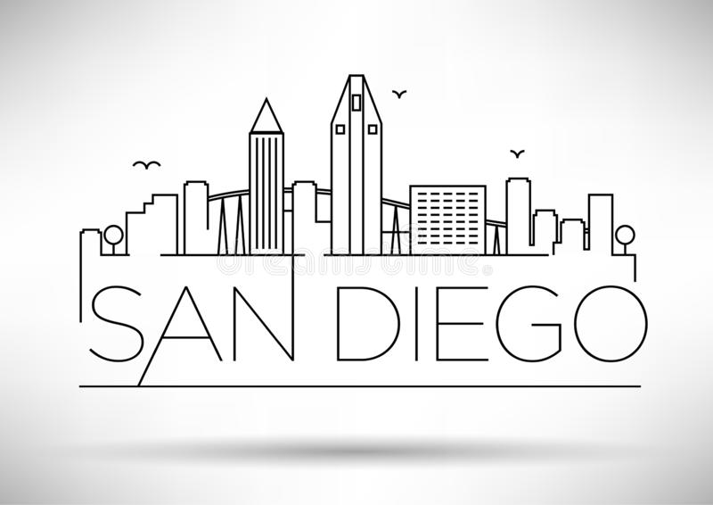 Lineair San Diego City Silhouette met Typografisch Ontwerp royalty-vrije illustratie