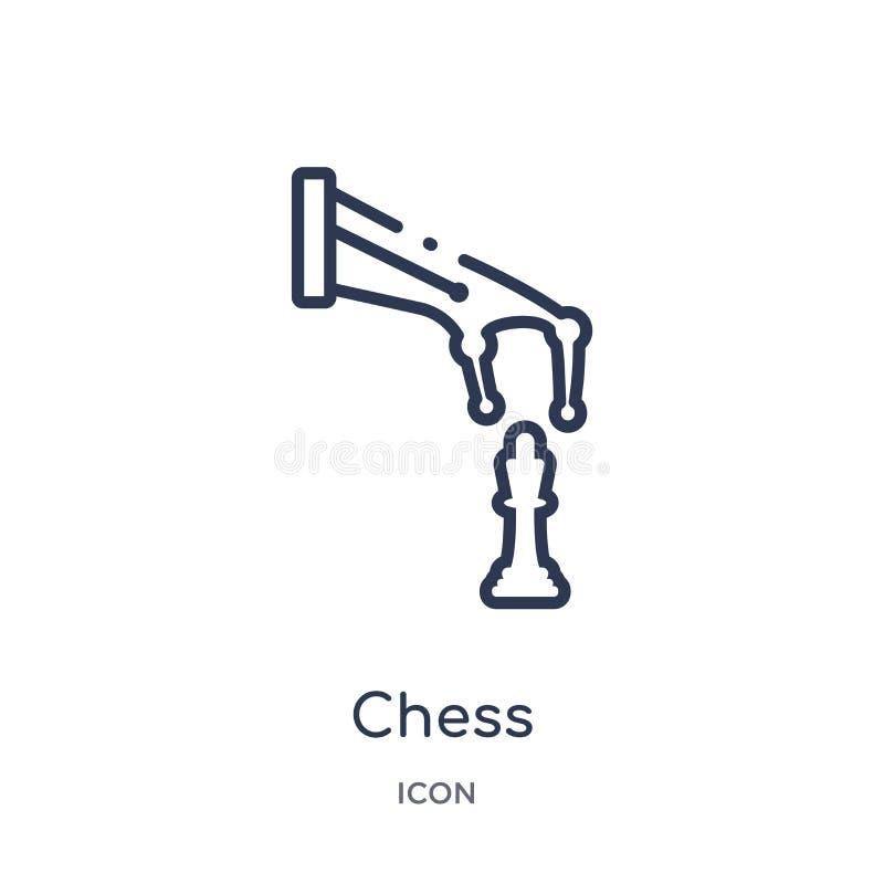 Lineair schaakpictogram van Kunstmatige intellegence en de toekomstige inzameling van het technologieoverzicht De dunne die vecto royalty-vrije illustratie
