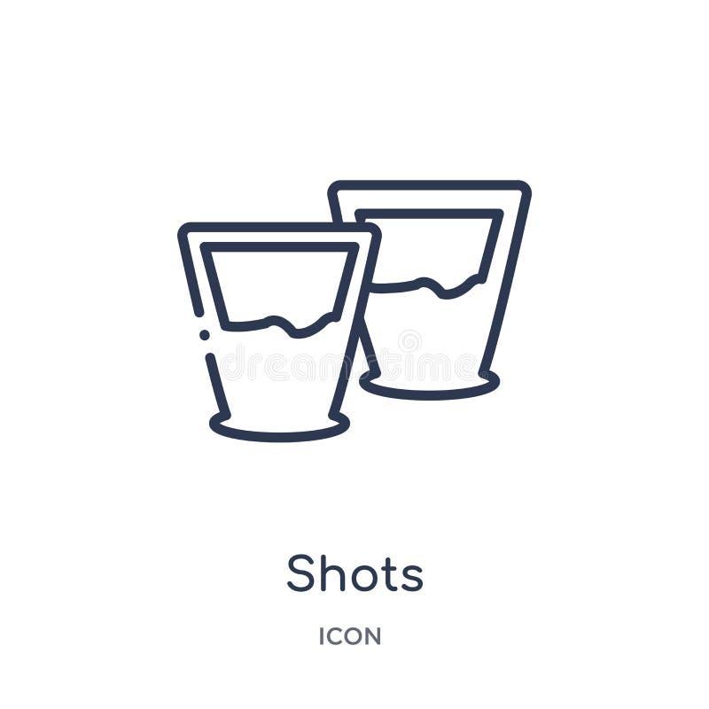 Lineair schotenpictogram van de inzameling van het Alcoholoverzicht De dunne vector van lijnschoten die op witte achtergrond word vector illustratie