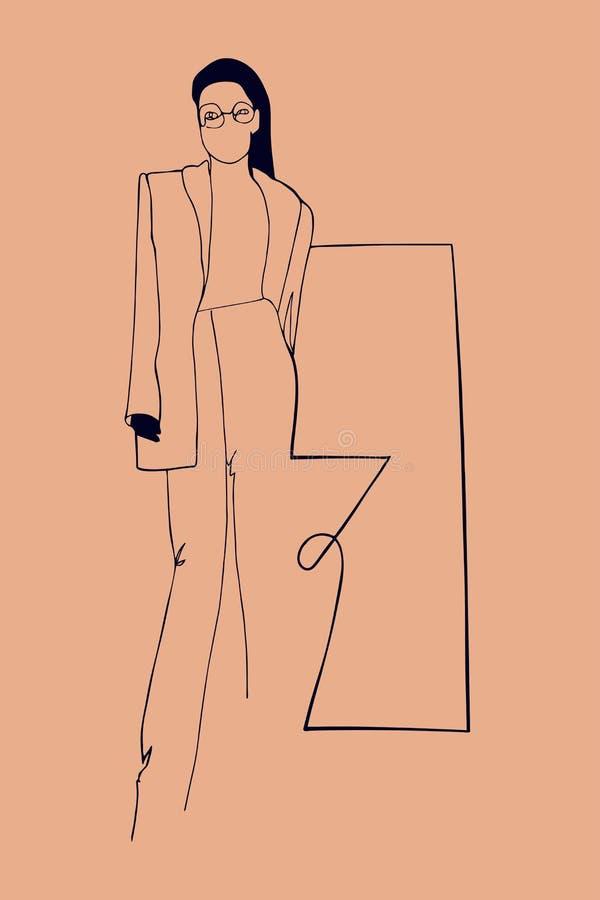 Lineair silhouet van vrouw royalty-vrije illustratie