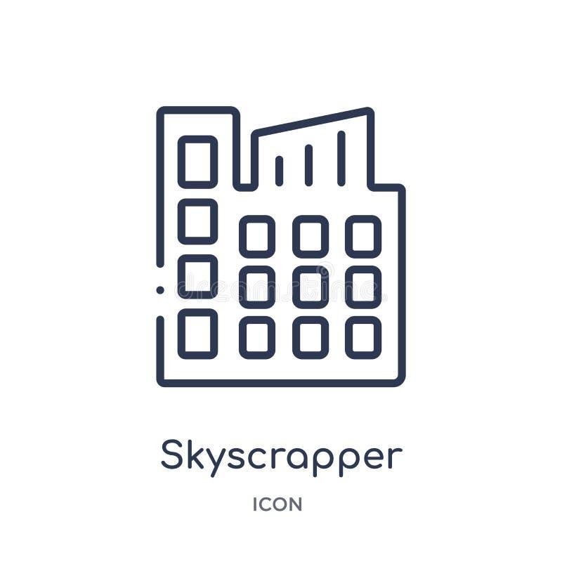 Lineair skyscrapperpictogram van het overzichtsinzameling van Stadselementen Dunne die lijn skyscrapper vector op witte achtergro vector illustratie