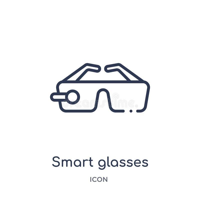 Lineair slim glazenpictogram van de Toekomstige inzameling van het technologieoverzicht Het dunne pictogram van lijn slimme glaze royalty-vrije illustratie