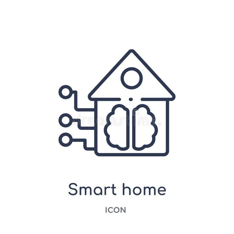 Lineair slim huispictogram van Kunstmatige intellegence en de toekomstige inzameling van het technologieoverzicht De dunne geïsol royalty-vrije illustratie