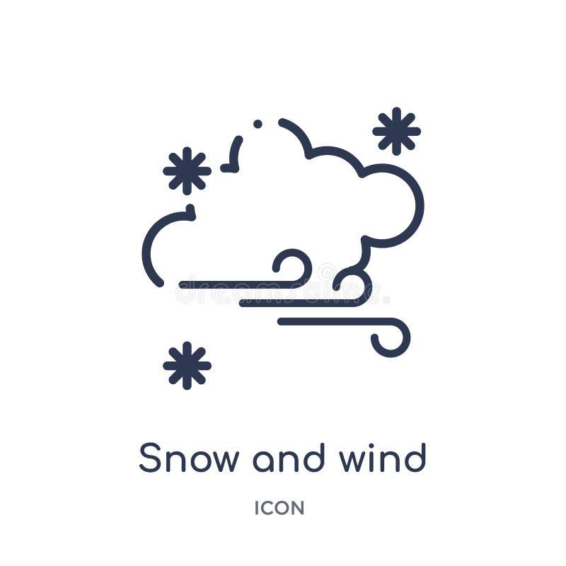 Lineair sneeuw en windpictogram van de inzameling van het Meteorologieoverzicht Dun lijnsneeuw en windpictogram dat op witte acht royalty-vrije illustratie