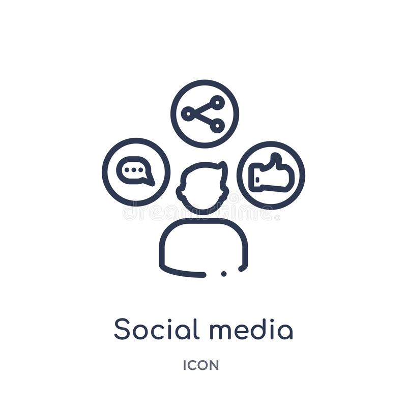 Lineair sociaal media pictogram van de Digitale inzameling van het economieoverzicht Dunne lijn sociale die media vector op witte vector illustratie