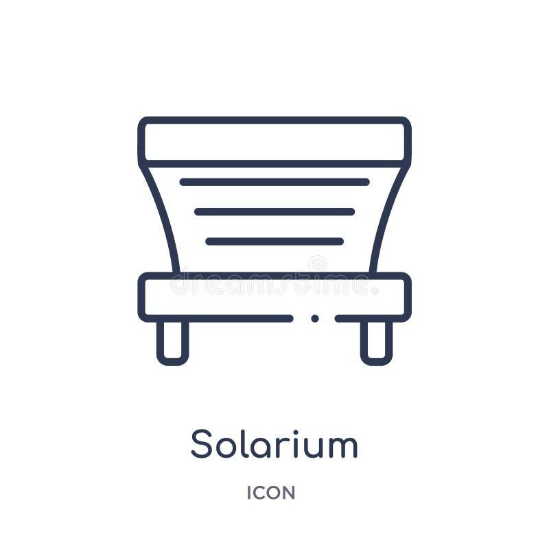 Lineair solariumpictogram van Algemene overzichtsinzameling Het dunne die pictogram van het lijnsolarium op witte achtergrond wor stock illustratie
