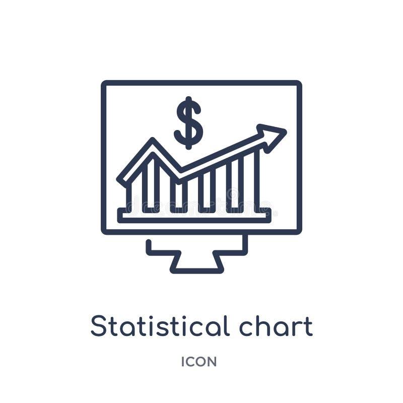 Lineair statistisch grafiekpictogram van Bedrijfsoverzichtsinzameling Het dunne pictogram van de lijn statistische die grafiek op stock illustratie