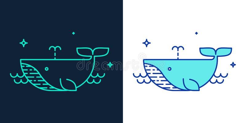 Lineair stijlpictogram van een walvisvector stock illustratie
