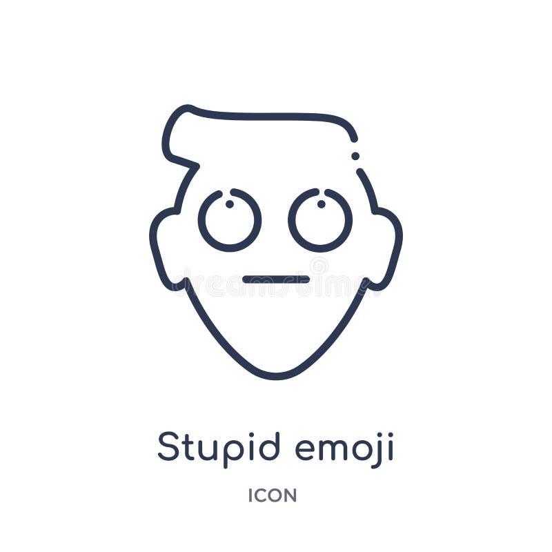 Lineair stom emojipictogram van Emoji-overzichtsinzameling De dunne vector van lijn stomme die emoji op witte achtergrond wordt g stock illustratie