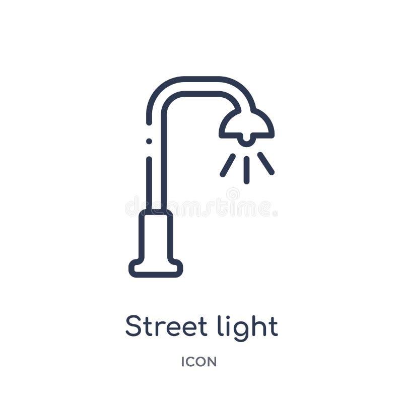 Lineair straatlantaarnpictogram van het overzichtsinzameling van Stadselementen De dunne die vector van de lijnstraatlantaarn op  royalty-vrije illustratie