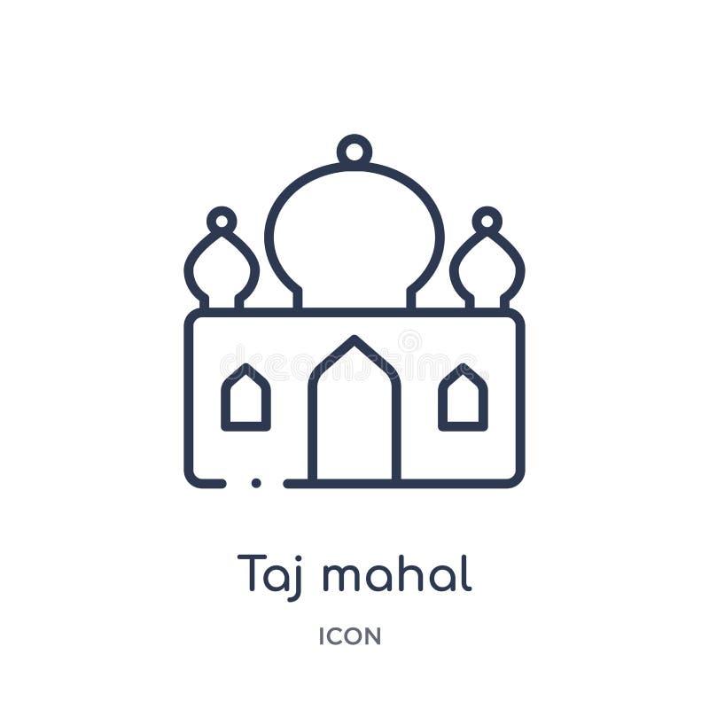 Lineair taj mahal pictogram van het overzichtsinzameling van India en van holi Dun lijn taj mahal die pictogram op witte achtergr vector illustratie
