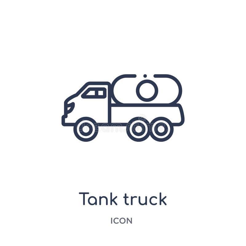 Lineair tankwagenpictogram van de inzameling van het Bouwoverzicht De dunne die vector van de lijntankwagen op witte achtergrond  vector illustratie