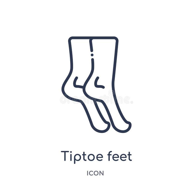 Lineair tiptoe voetenpictogram van de Menselijke inzameling van het lichaamsdelenoverzicht Dun die lijntiptoe voetenpictogram op  vector illustratie