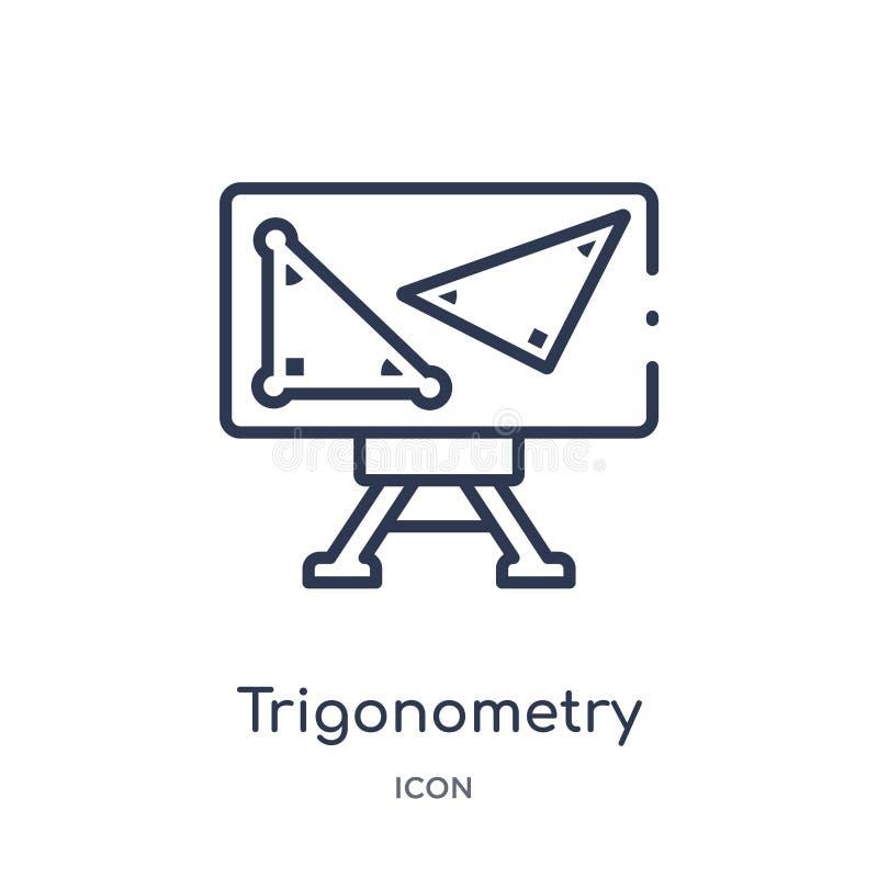 Lineair trigonometriepictogram van het overzichtsinzameling van Elearning en van het onderwijs De dunne vector van de lijntrigono royalty-vrije illustratie