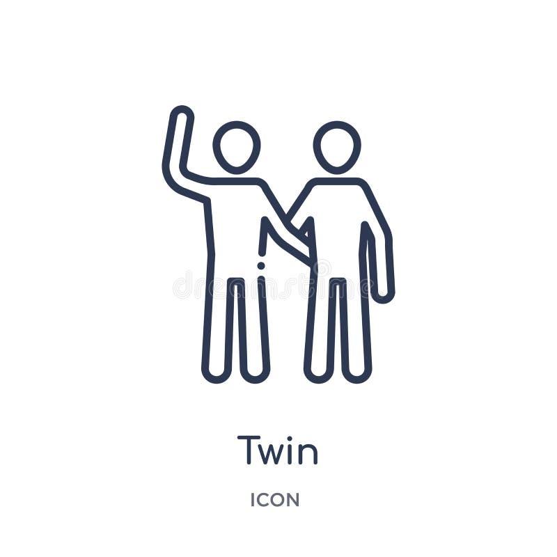 Lineair tweelingpictogram van de inzameling van het gezinsverhoudingenoverzicht Dunne lijn tweelingdievector op witte achtergrond vector illustratie