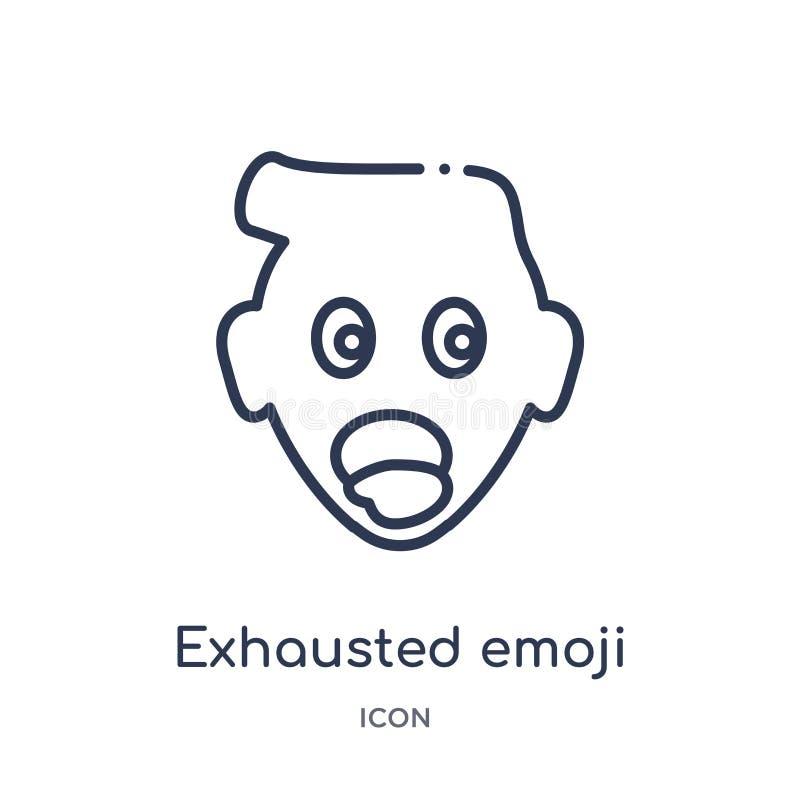 Lineair uitgeput emojipictogram van Emoji-overzichtsinzameling De dunne die lijn putte emojivector uit op witte achtergrond wordt royalty-vrije illustratie