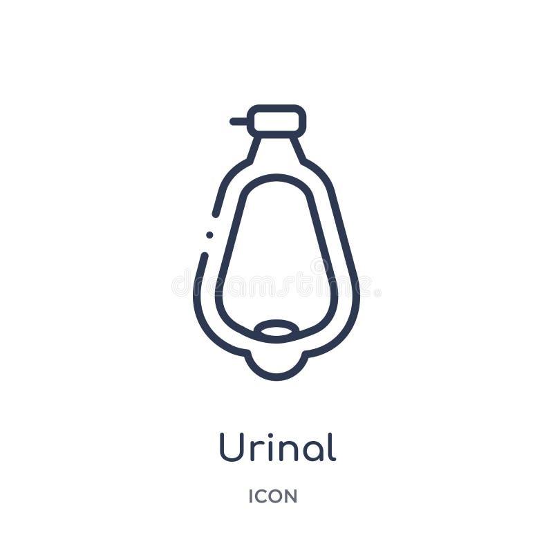 Lineair urinoirpictogram van de inzameling van het Hygiëneoverzicht Het dunne pictogram van het lijnurinoir dat op witte achtergr vector illustratie