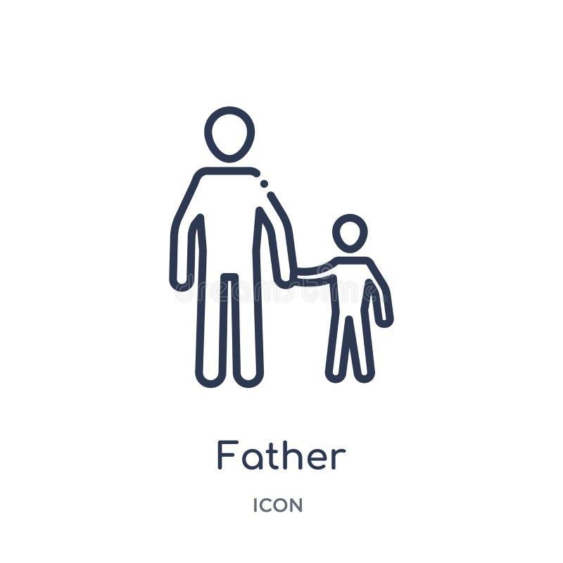 Lineair vaderpictogram van de inzameling van het gezinsverhoudingenoverzicht De dunne die vector van de lijnvader op witte achter royalty-vrije illustratie