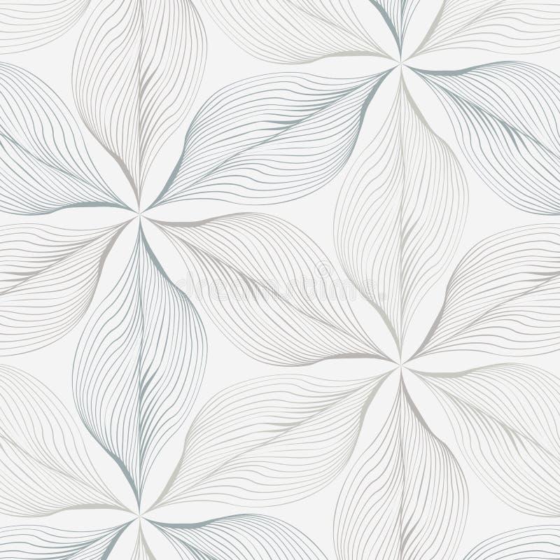 Lineair vectorpatroon, die abstracte bladeren, grijze ruwe lijn van blad of bloem herhalen, bloemen grafisch schoon ontwerp voor  royalty-vrije illustratie