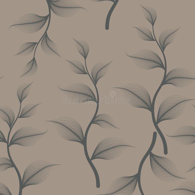 Lineair vectorpatroon, die abstracte bladeren met tak, donkergroene lijn van blad of bloem herhalen, bloemen vector illustratie