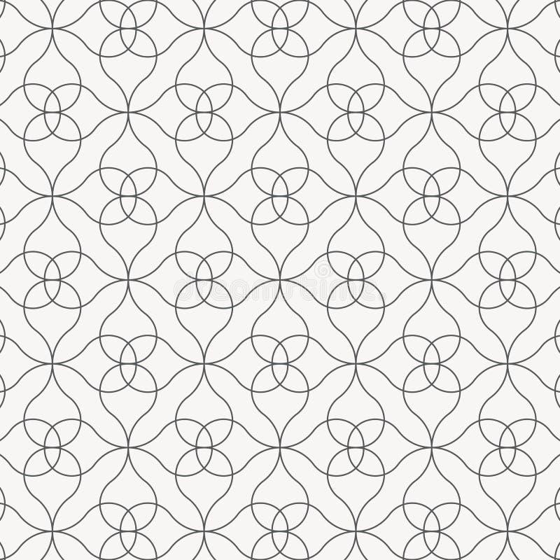 Lineair vectorpatroon, die abstracte bloem, dunne grijze lijn herhalen van bloem en bloemen grafisch schoon ontwerp stock illustratie