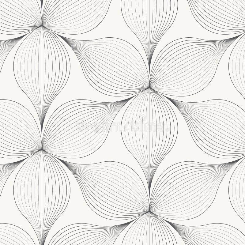 Lineair vectorpatroon, die abstracte bloembladeren, grijze lijn van blad of bloem herhalen, bloemen grafisch schoon ontwerp voor  royalty-vrije illustratie