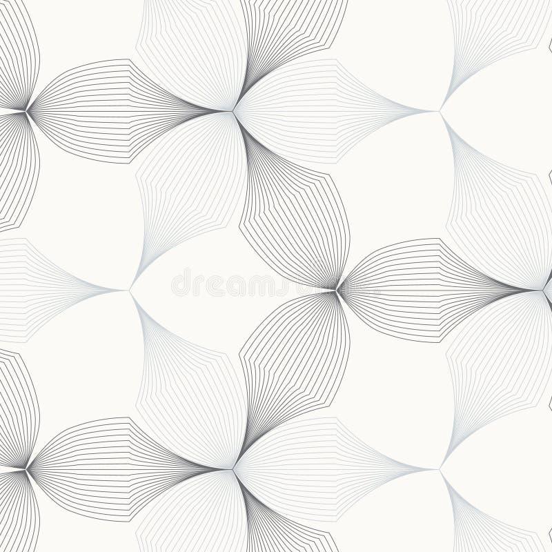 Lineair vectorpatroon, die abstracte bloembladeren, grijze lijn van blad of bloem herhalen, bloemen grafisch schoon ontwerp voor  stock illustratie