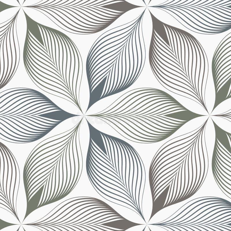 Lineair vectorpatroon, die samenvatting herhalen een lineair blad elk die op hexagon vorm omcirkelen vector illustratie