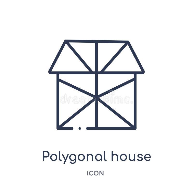 Lineair veelhoekig huis of huis de bouwpictogram van de inzameling van het Meetkundeoverzicht Dun lijn veelhoekig huis of huis de royalty-vrije illustratie