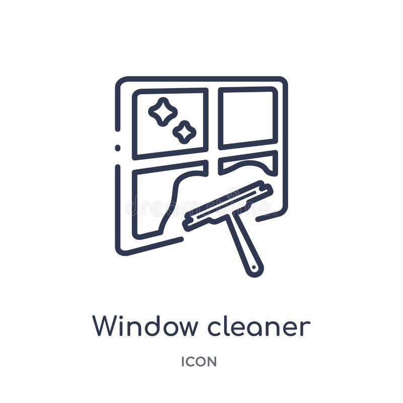 Lineair venster schoner pictogram van het Schoonmaken overzichtsinzameling De dunne schonere die vector van het lijnvenster op wi royalty-vrije illustratie