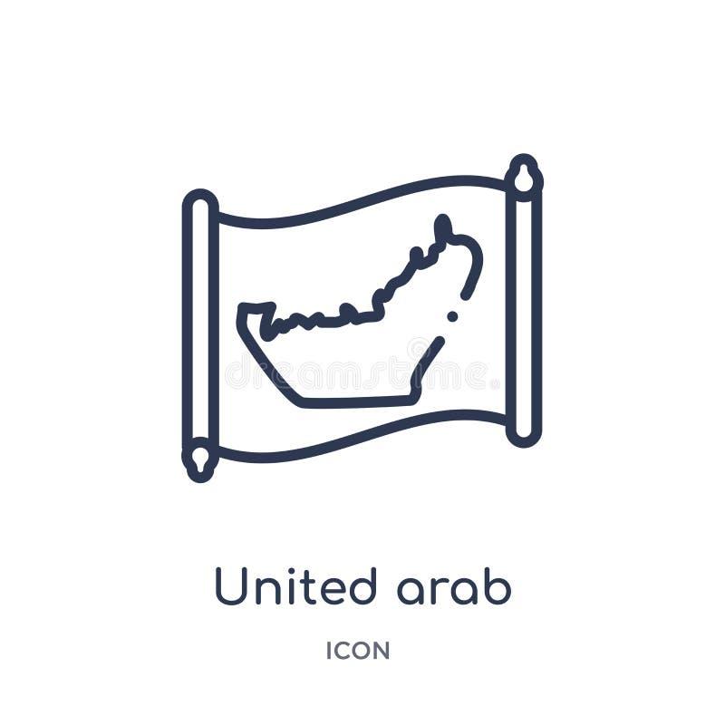 Lineair verenigd Arabisch de kaartpictogram van emiraten van Countrymaps-overzichtsinzameling De dunne lijn verenigde Arabische g vector illustratie