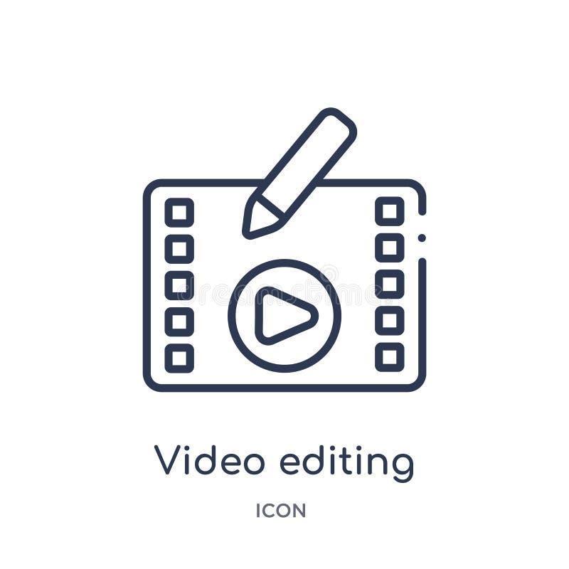 Lineair video het uitgeven pictogram van Vermaak en de inzameling van het arcadeoverzicht Dunne lijn videodie het uitgeven vector royalty-vrije illustratie