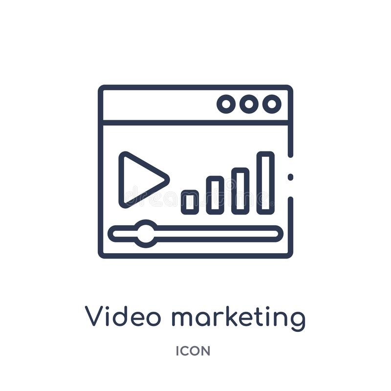 Lineair video marketing pictogram van Marketing overzichtsinzameling Dun lijn videodie marketing pictogram op witte achtergrond w stock illustratie