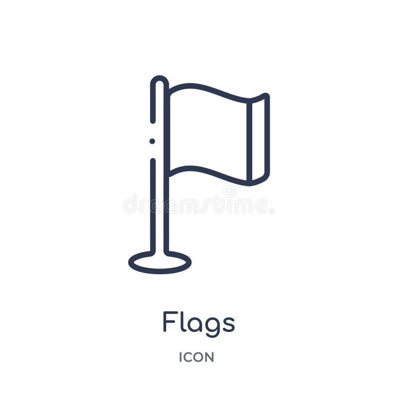 Lineair vlaggenpictogram van Kaarten en Vlaggenoverzichtsinzameling De dunne die lijn markeert pictogram op witte achtergrond wor royalty-vrije illustratie