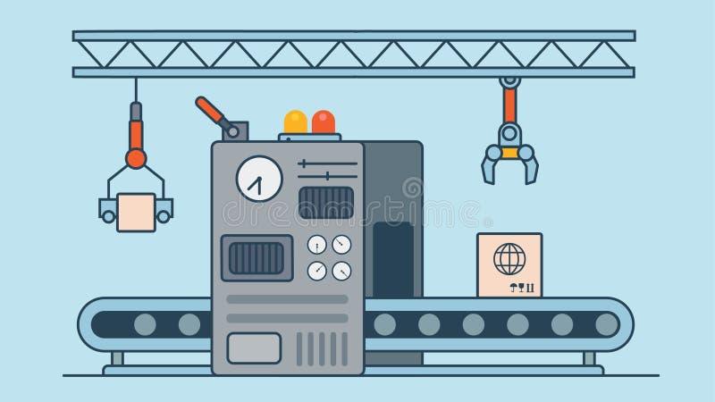Lineair Vlak de machineproduct p van de vervaardigingstransportband royalty-vrije illustratie