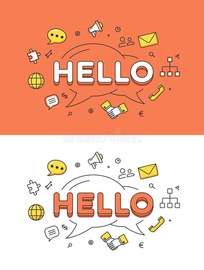 Lineair Vlak HELLO-vector het beeldnetwerk van de praatjebel vector illustratie