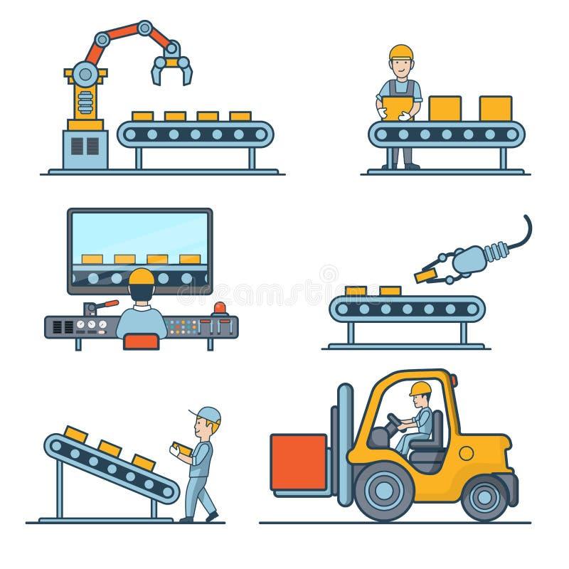 Lineair Vlak MAC van de de opslagopslag van de vervaardigingstransportband vector illustratie