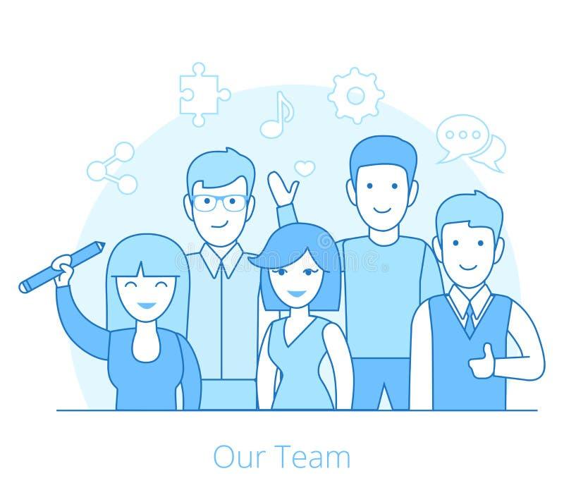 Lineair Vlak Team van jonge man en vrouwen zieke vector royalty-vrije illustratie