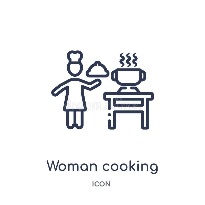 Lineair vrouwen kokend pictogram van de inzameling van het Mensenoverzicht Het dunne kokende pictogram van de lijnvrouw dat op wi royalty-vrije illustratie