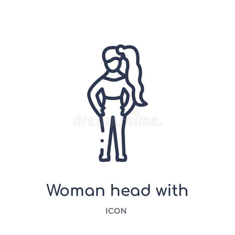 Lineair vrouwenhoofd met paardestaartpictogram van de inzameling van het Damesoverzicht Het dunne die hoofd van de lijnvrouw met  stock illustratie