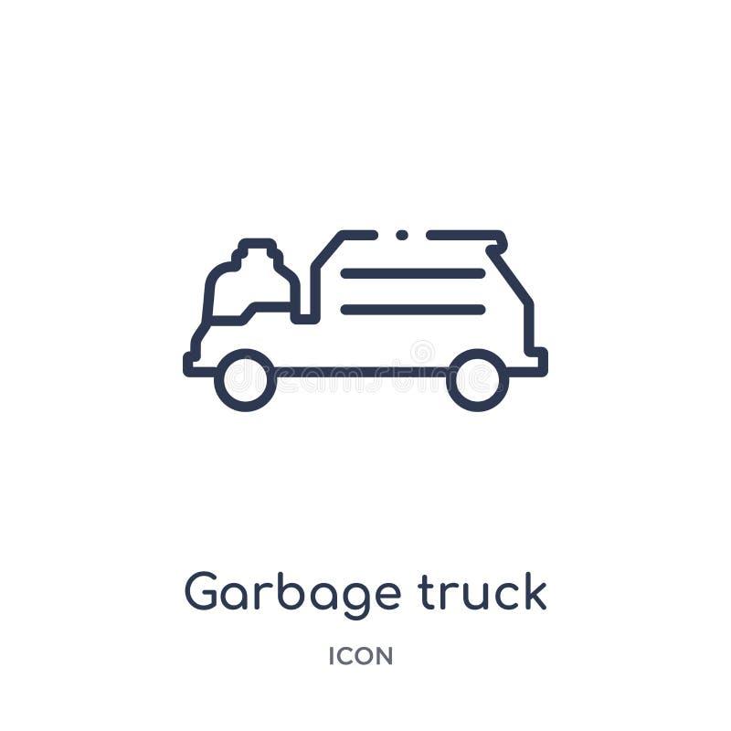 Lineair vuilnisauto cleanin pictogram van het Schoonmaken overzichtsinzameling De dunne die vector van de lijnvuilnisauto cleanin royalty-vrije illustratie