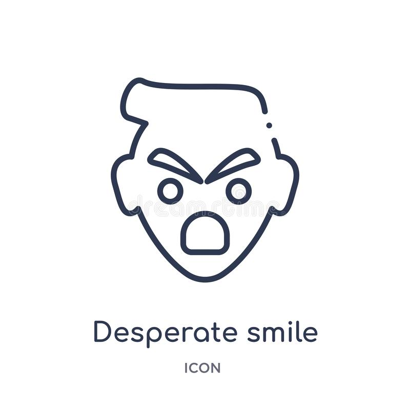 Lineair wanhopig glimlachpictogram van Emoji-overzichtsinzameling De dunne vector van de lijn wanhopige die glimlach op witte ach royalty-vrije illustratie