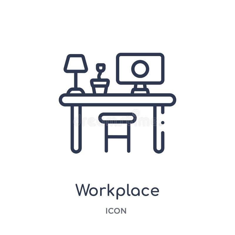 Lineair werkplaatspictogram van Bedrijfs en analyticsoverzichtsinzameling De dunne die vector van de lijnwerkplaats op witte acht royalty-vrije illustratie