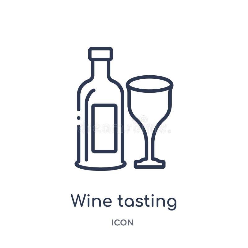 Lineair wijn proevend pictogram van de inzameling van het Alcoholoverzicht Dunne lijnwijn die vector proeven geïsoleerd op witte  royalty-vrije illustratie
