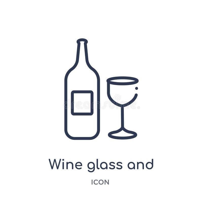 Lineair wijnglas en flessenpictogram van de inzameling van het Voedseloverzicht Het dun die glas van de lijnwijn en flessenpictog stock illustratie